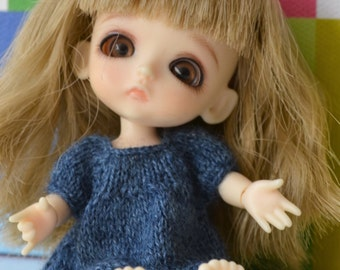 Knitted dress for Lati White doll in jeansblue colour