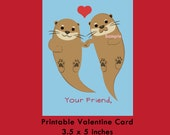 Otter Valentine Card, Instant Download Cards --- Digital File of 4 (3.5x5 inch) Cards