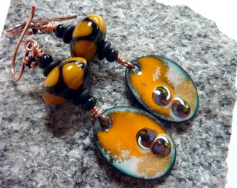 Sunrise Earrings, Orange Black Drop Dangle,  Copper Findings, Handmade Lampwork
