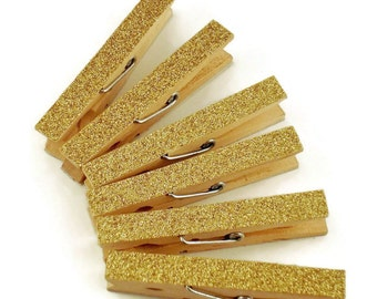 Glittered Clothespin  Clips  Decorative  Wooden Clothespins in Golden