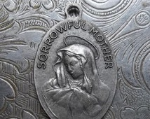 HUGE SALE Saint Peregrine Italian Silver Catholic Medal Patron Saint Of Those Suffering From Cancer, With Mater Dolorosa Sorrowful Mother Ma