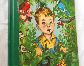 VINTAGE Johnny and the Birds Rand McNally Elf Book 1950 Hard Back Book