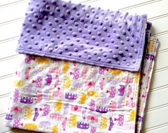 Personalized-Baby-Blanket-Plush-Lavender-Princess-Chevron-Quilts-Stroller-Receiving-Swaddling-Minky-Girls-Crib-Nursury-Newborn-Toddler-Gifts