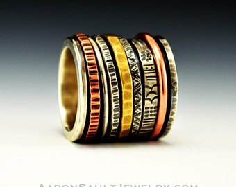 Kinetic Series - Wheel of Fortune.  Mixed Metal Spinner Ring