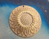 Gold Plated Frosted White Patina Large Brass Sunflower Stamping 755WHT x2