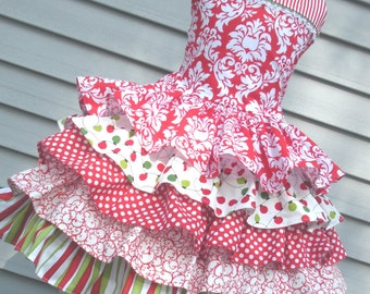 Ready to Ship Custom Boutique Christmas Dress Red Damask Ruffle Girl Size 5 or 6