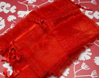 Valentines Day Sale 12 Pack Red Sheer Organza Drawstring Bags  Great For Halloween Time Gifts