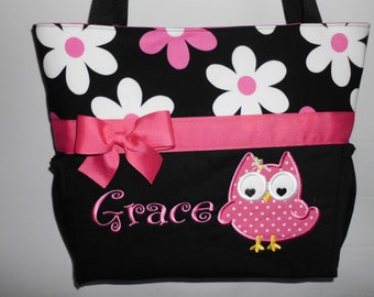 Personalized ... Hot Pink DAISY  ...  OWL Appliqué .. Diaper Bag ... Tote ... Bottle POCKETS