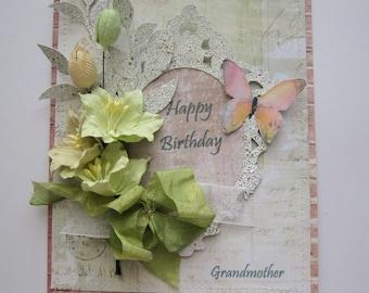 Grandmother birthday card - Fancy Card - Embellished Card