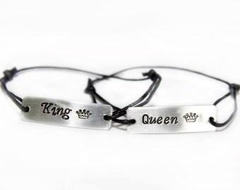 Couples Bracelets, Engraved Bracelet,  Aluminum, Queen, King, Crown Handmade, Gift, Set of Two Bracelets, Custom