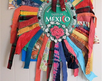 FIESTA WEAR Cinco de Mayo -  Fabric Collage Clothing Wearable Art  - Frida Kahlo Mexican Folk Artist -- Textile Assemblage // mybonny