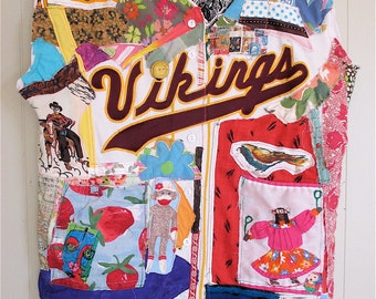 altered Baseball Shirt - Collage Clothing Wearable Fabric Folk ART Tunic Athletic Sports Top -- Plus XL - mybonny random scraps