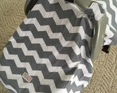 Car Seat Canopy..Baby Car Seat ..Canopy Carseat Cover... Gray Chevron ......Michaelmoodesign
