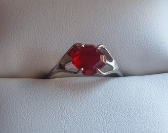 Ring, Silver Ring, Silver CZ Ring, Fashion CZ Ring, CZ Ruby Ring, Ruby and Silver Ring