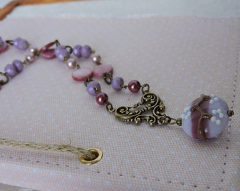 Pink and Purple Necklace with lampwork pendant