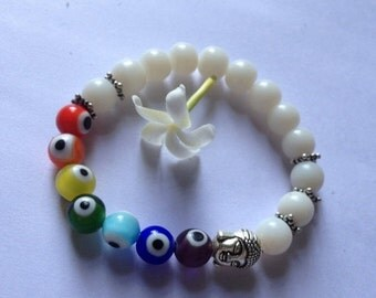 ON SALE White Jade and Handblown Glass Eyes Chakra Bracelet
