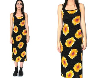 early 90s GRUNGE dress 1990s vintage DAISY print floral dress spaghetti strap ribbed rayon animal print dress medium