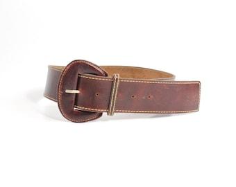 Vintage 1970s Full Grain Chromexcel Leather Belt | Chestnut Brown Wide Leather Belt | XS - S