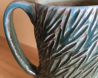 Green Carved Mug
