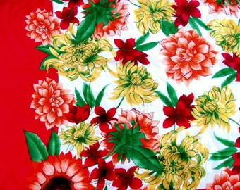 Vintage 1980's Large Silky Floral Scarf - Red with Orange Sunflowers, Dahlias  and Yellow Mums