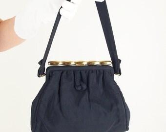 40s Black Faille Fabric Handbag & Coin Purse