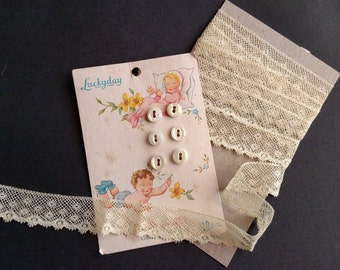 Vintage Yellow Valenciennes Lace and Pearl Baby Buttons  720