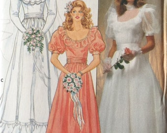 Vintage 80s Cummerbun Waist Ruffled Puff Sleeve Wedding Bridal Bridesmaid Dress Gown Pattern 4765 B36
