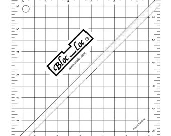 "Bloc-Loc 6.5"" Inch Ruler - Half Square Triangle Ruler - Square Up Ruler for HST - Quilting Tool"