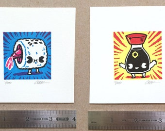 Teeny Press - CUTE Sushi and Soy Sauce handmade print SET