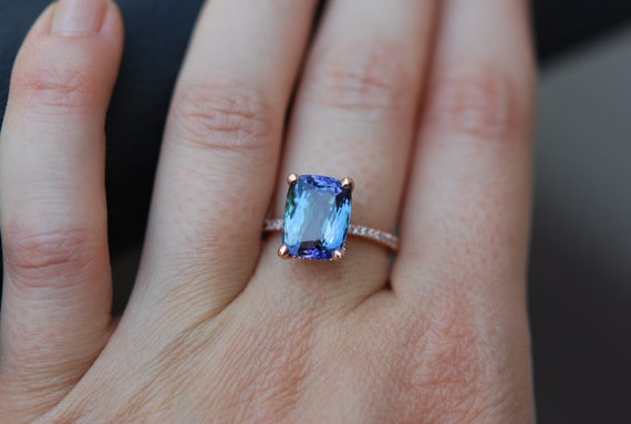 Tanzanite Ring. Rose Gold Engagement Ring Lavender Blue Teal Tanzanite emarald cut engagement ring 14k rose gold.