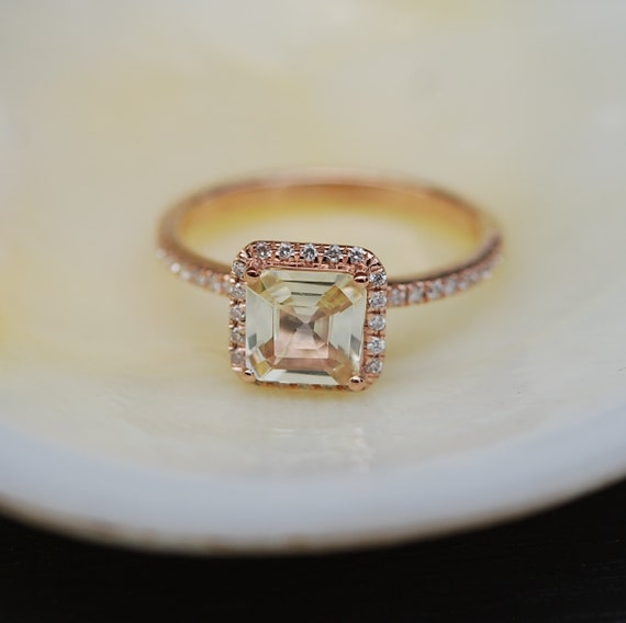 Radiant cut ring. Champagne yellow sapphire ring.  Engagement Ring square 14k rose gold diamond ring 1.2ct sapphire ring