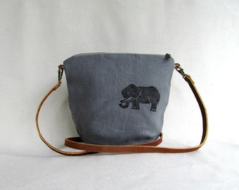 LINEN Cross Body Bag // LINEN Sling Bag // Daybag // Small Casual Purse // Elephant // Gray