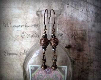 Solid Bronze Bohemian Style Earrings