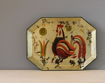 Georges Briard tin tray, hand painted rooster. Signed.
