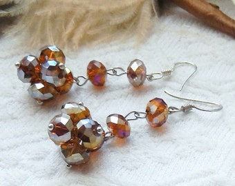 One of a Kind .925 Sterling Silver Amber Crystal Cluster Dangle Drop Earrings