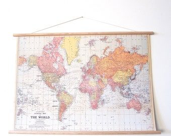 DIY Backing - Push Pin World Travel Hanging Map Kit - Wanderlust Explorer Anniversary Wedding Gift