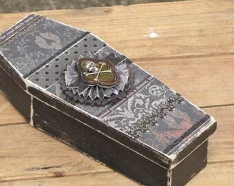 Large Vintage Halloween Gothic Paper Mache Coffin Box Vampire Dracula Victorian Steampunk Skull