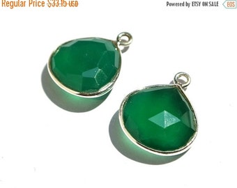 55% OFF SALE 2Pc 925 Sterling Silver And Genuine Green Onyx Faceted Heart Bezels Size 19x14mm Approx Matched Pair