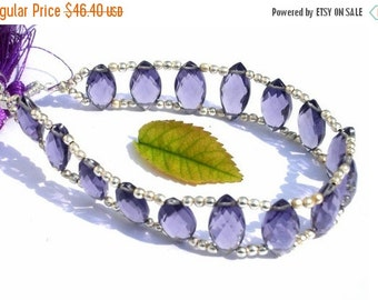 55% OFF SALE 7 Inches -  Finest Quality AAA Iolite Quartz Double Drilled Faceted Marquise Briolettes Size 14x7mm approx Wholesale Price
