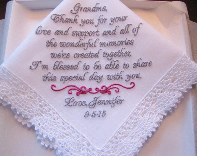 Personalized Custom Made Grandmother of the Bride Wedding Handkerchief