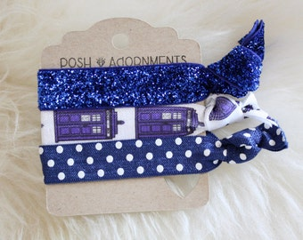 Mini Hair Tie Set in Dr. Who Polka Dot and Tardis Print