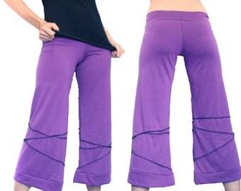 ON SALE -Purple Sleek Spider Dance Capris - Lavender, Serged Seams, Yoga Pants