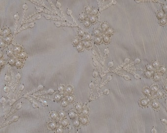 White Beaded Fabric by the 1/2 Yard, Silk White Dupioni, Embroidered Silk Embellished with Pearls, Seed Beads and Sequins,