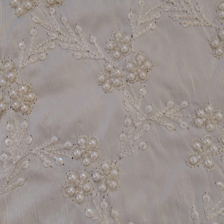 White Beaded Fabric By The 1 2 Yard Silk White Dupioni
