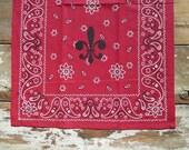 Red Bandana Fleur de Lis Kitchen Guest Towel
