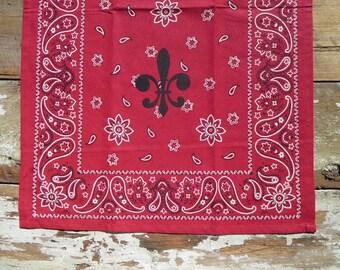 SALE -- Red Bandana Fleur de Lis Kitchen Guest Towel