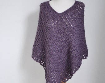 Lace crochet poncho, heather, purple  P510