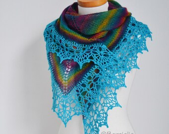 Rainbow knitted shawl with crochet lace trim, N409