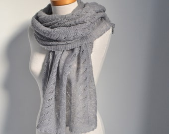Lace knitted shawl, Grey, P416