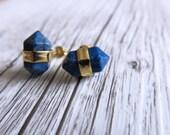 Lapis Lazuli Terminated Point Crystal Earrings   Crystal Point Earrings   Lapis Lazuli Earrings   Blue Gold Earrings   Gemstone Earrings